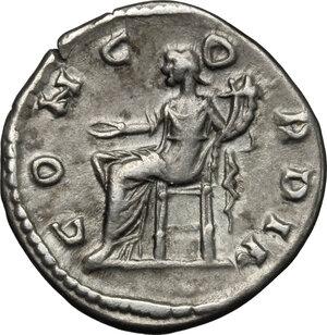 reverse: Julia Domna, wife of Septimius Severus (died 217 AD).. AR Denarius, 196-202