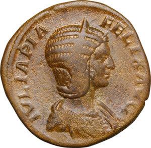 obverse: Julia Domna, wife of Septimius Severus (died 217 AD).. AE Sestertius, 211-217