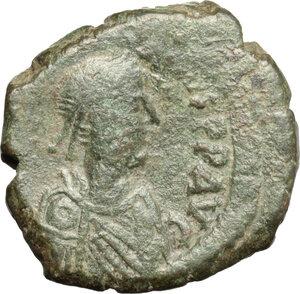 obverse: Anastasius I (491-518).. AE half Follis, Constantinople mint, 507-512 AD