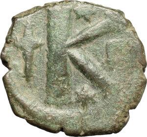 reverse: Anastasius I (491-518).. AE half Follis, Constantinople mint, 507-512 AD