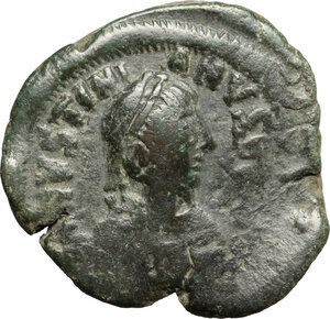 obverse: Justinian I (527-565).. AE Follis, Constantinople mint, 4th officina, c. 527-532 AD