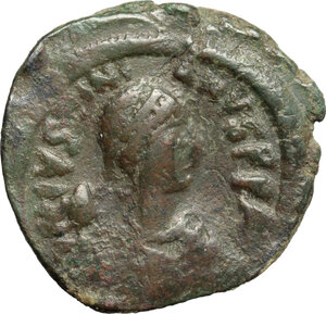 obverse: Justinian I (527-565).. AE Follis, Constantinople mint, 5th officina, c. 527-532 AD
