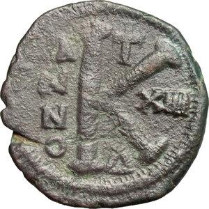 reverse: Justinian I (527-565).. AE half Follis, Constantinople mint. Dated RY 16 (542/43)