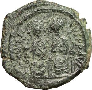 obverse: Justin II, with Sophia (565-578). . AE Follis. Constantinople mint, 3rd officina. Dated RY 6 (570/1)