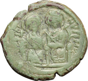 obverse: Justin II, with Sophia (565-578). . AE Follis. Constantinople mint, 5th officina. Dated RY 6 (570/1)