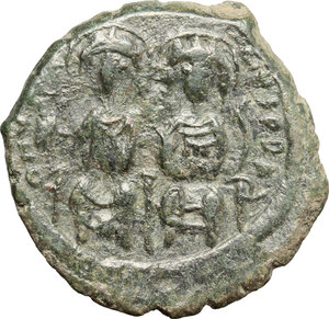 obverse: Justin II (565-578).. AE Follis. Constantinople mint, 3rd officina. Dated RY 12 (576/7)