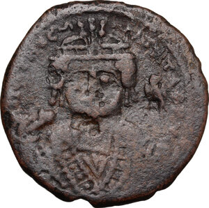 obverse: Tiberius II Constantine (578-582).. AE Follis, Theupolis (Antioch) mint. Dated RY 6 (579/80)
