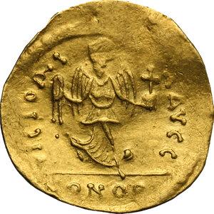 reverse: Maurice Tiberius (582-602).. AV Semissis, Constantinople mint