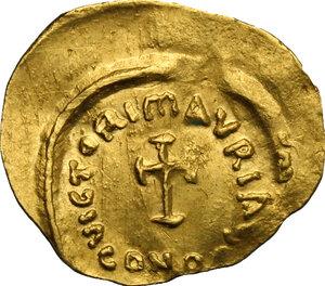reverse: Maurice Tiberius (582-602).. AV Tremissis, Constantinople mint
