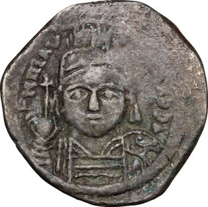 obverse: Maurice Tiberius (582-602).. AE Follis. Constantinople mint, 2nd officina. Dated RY 8 (589/90)