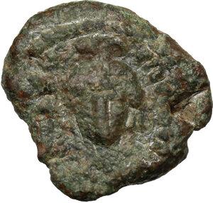 obverse: Maurice Tiberius (582-602).. AE Decanummium. Syracuse mint. Struck 588-602