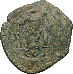 reverse: Heraclius (610-641), with Martina and Heraclius Constantine.. AE Follis. Constantinople mint, struck 624-629