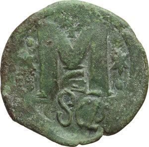reverse: Heraclius (610-641).. AE Follis of Anastasius for Constantinople mint, countermarked by Heraclius, Syracuse mint