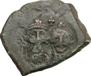 obverse: Heraclius (610-641).. AE Follis, Sicily mint, 632-641. Countermaked on uncertain issue