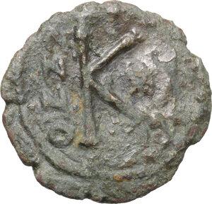 reverse: Heraclius, with Heraclius Constantine and Heraclonas (610-641).. AE Half Follis. Ravenna mint. Dated RY 28 (AD 637/8)?
