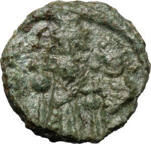 obverse: Heraclius, with Heraclius Constantine and Heraclonas (610-641).. AE Half Follis. Ravenna mint. Dated RY 30 (AD 639/640)?