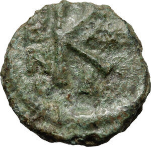 reverse: Heraclius, with Heraclius Constantine and Heraclonas (610-641).. AE Half Follis. Ravenna mint. Dated RY 30 (AD 639/640)?