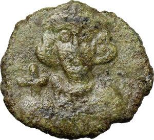 obverse: Justinian II (685-695).. AE Follis. Ravenna mint