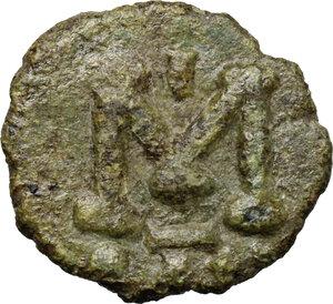 reverse: Justinian II (685-695).. AE Follis. Ravenna mint