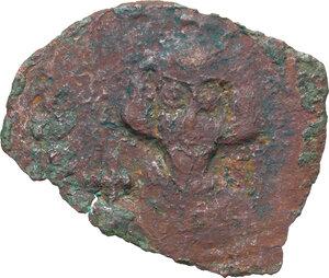 obverse: Justinian II (First Reign, 685-695). . AE Follis. Ravenna mint