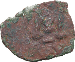 reverse: Justinian II (First Reign, 685-695). . AE Follis. Ravenna mint