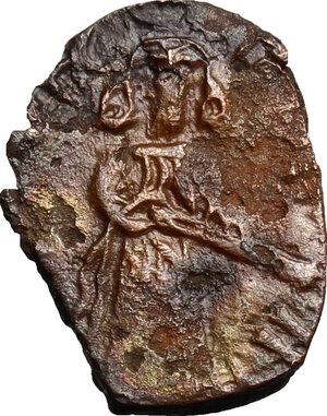 obverse: Syria.  Umayyad Caliphate.  Abd al-Malik ibn Marwan. AE Fals. Quinnasrin, AH 65-86/AD 685-705