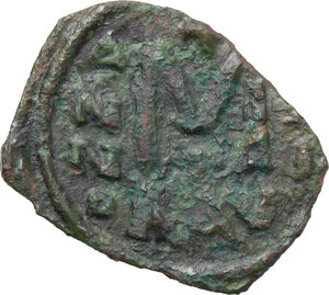 reverse: Justinian II (Second Reign, 705-711). AE Follis. Ravenna mint. Dated RY 21 or 22 (705/6 or 706/7)