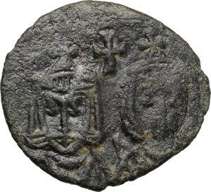 obverse: Leo V with Constantine (813-820).. AE Follis. Syracuse mint. Struck 817-820