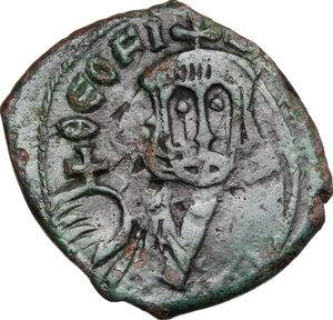 obverse: Theophilus (829-842).. AE Follis, Constantinople mint