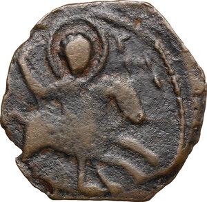 obverse: Roger of Salerno (1112-1119), regent.. AE Follis, Third type. Antioch mint