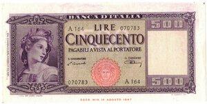 obverse: Banconote. Repubblica Italiana. 500 lire Italia Ornata di spighe.