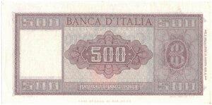 reverse: Banconote. Repubblica Italiana. 500 lire Italia Ornata di spighe.