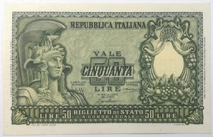 obverse: Banconote. Repubblica Italiana. 50 lire Atena Elmata.