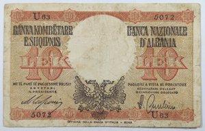 obverse: Banconote. Albania. Occupazione Italiana. 10 lek 1941.