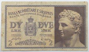 obverse: Banconote. Albania. Occupazione Italiana. 2 lek 1941.