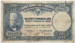 obverse: Banconote. Protettorato italiano. Banca Nazionale d Albania. 20 Franchi oro.