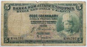 obverse: Banconote. Protettorato italiano. Banca Nazionale d Albania. 5 Franchi oro 1930.