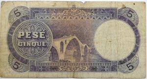 reverse: Banconote. Protettorato italiano. Banca Nazionale d Albania. 5 Franchi oro 1930.