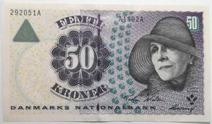 obverse: Banconote. Danimarca. 50 Corone 1997.