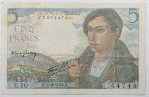 obverse: Banconote. Francia. 5 Franchi 1943.