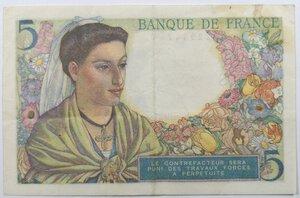 reverse: Banconote. Francia. 5 Franchi 1943.