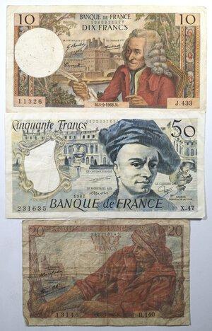 obverse: Banconote. Francia. Lotto di 3 pezzi. 10-20-50 Franchi.