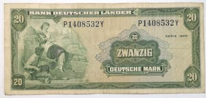 obverse: Banconote. Germania. 20 Marchi 1949.