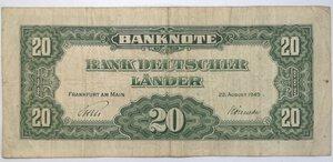 reverse: Banconote. Germania. 20 Marchi 1949.