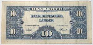 reverse: Banconote. Germania. 10 Marchi 1949.