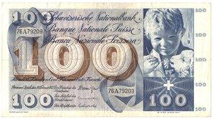 obverse: Banconote. Svizzera. 100 Franchi. 10 Febbraio 1971.