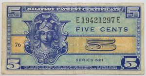 obverse: Banconote. Usa. Military Payment Certficate. 5 cents 1954.