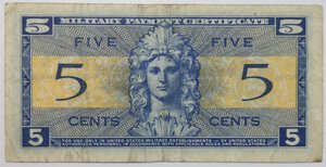 reverse: Banconote. Usa. Military Payment Certficate. 5 cents 1954.