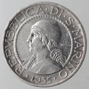 obverse: San Marino. 1864-1938. 5 lire 1935. Ag.