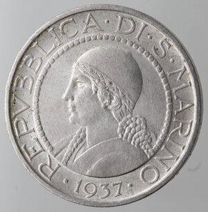 obverse: San Marino. 1864-1938. 5 lire 1937. Ag.